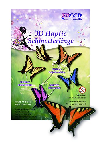 Orange Schmetterlings Kostüm - Schmetterlinge 3d samtig, Orange, 10 Stück,