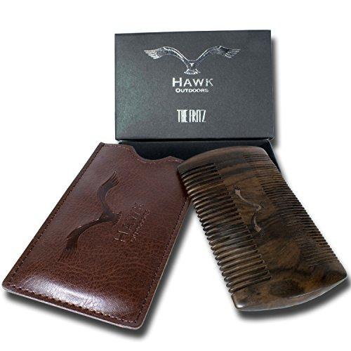 HAWK Outdoors BART-KAMM natürliche organische Bart-Pflege aus Mango-Holz – klassisch inklusive Etui mit Gürtel-Schlaufe – Vintage-Look Box als Premium Geschenk zur Bart-Bürste – Kein Sandelholz (Braun Hände Haarige)