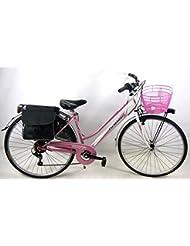 ANGEBOT GESCHENK - Fahrrad rosa VOLL damen City-Bike 6V SHIMANO + Tasche e Papierkorb / QUALITÄT ITALIENISCH
