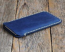 Samsung Galaxy S8 Tasche Cover Blaues Leder Etui Hülle Case