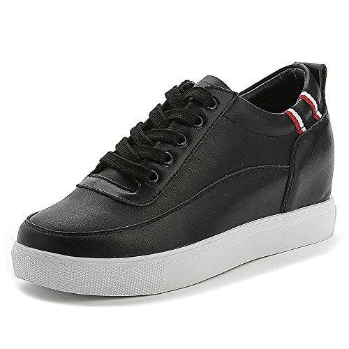 Shenn Damen Versteckt Keil Ferse Schnüren Komfort Leder Sneaker Schuhe SN2528(Schwarz,EU36.5) (Damen-komfort-schuhe Ferse)