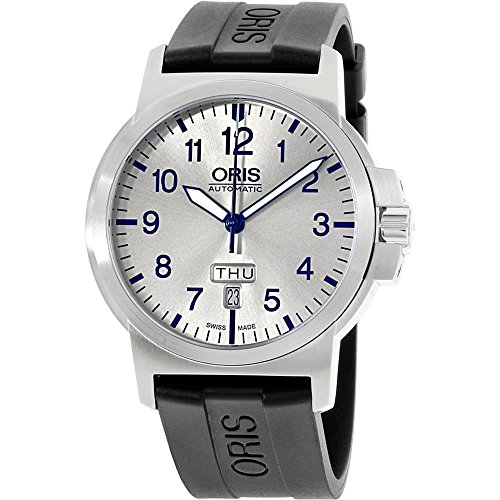 ORIS MEN'S BC3 42MM SILICONE BAND STEEL CASE AUTOMATIC WATCH 73576414161RS