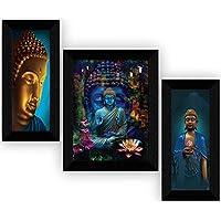 SAF Buddha Home Decorative Item Hanging Framed Painting (22.5 Inch X 13.5 Inch) - Set of 3, SANFS31046