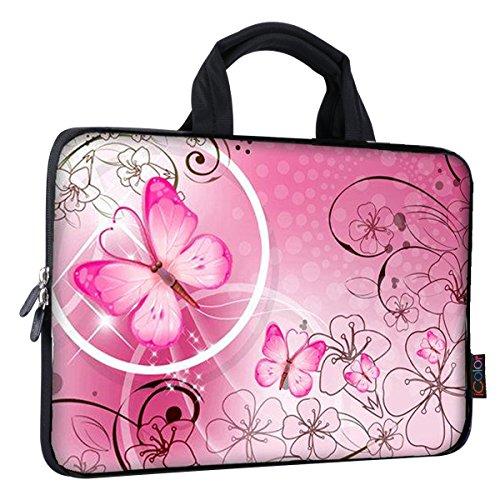 iColor Eiffelturm & Pink Roses 38,1-39,6cm Laptop Sleeve Tasche Neopren Schutzhülle für MacBook Pro HP Dell Lenovo ThinkPad ASUS Ace MacBook Air (fy-ps15-24) Pink Butterfly (Pink Vaio Laptop Touchscreen)