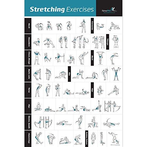 laminiert-Zeigt, Wie an Stretch spezifischen Muskeln für Ihr Workout-Home Gym Fitness Guide, blau / schwarz ()