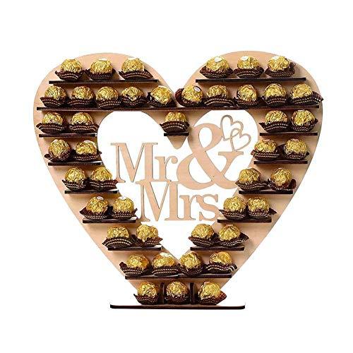 luckything Mr & Mrs Ferrero Rocher Herz Display Ständer Mittelstück,Ferrero Display Ständer Hochzeitszubehör Party Etagere Dessert Display, Cupcake Ständer Perfekt Für Parties, Hochzeiten & Candy Bar Holz Candy