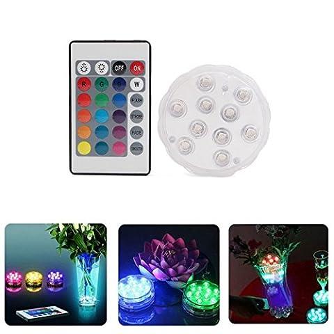 Bazaar 10 LED Remote Aquarium Fisch Tank Licht Kerze Lampe Unterwasser Farbe ändern Dekor