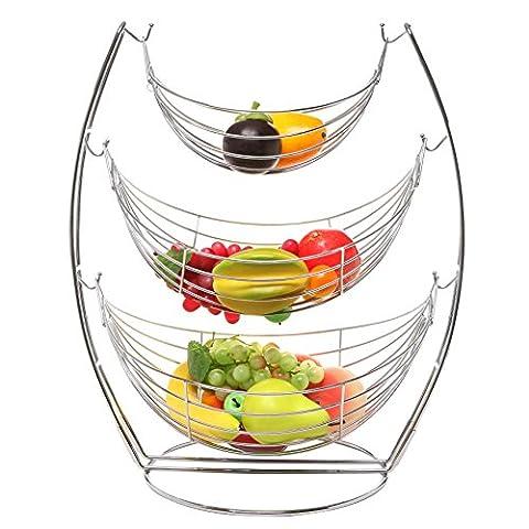 Paniers Legumes - 3étages Chrome Triple Hamac Fruits/légumes/Produire en métal