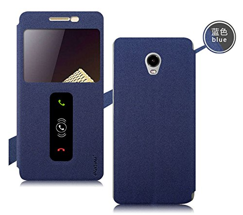 TARKAN Pudini Premium Luxury Hard Slim Window Slim Flip Cover Case with Convertible Back Stand For Lenovo Vibe P1 - BLUE