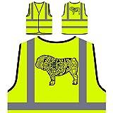 Englische Bulldogge Mandala 1 Personalisierte High Visibility Gelbe Sicherheitsjacke Weste s839v