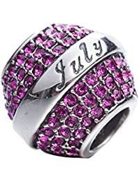 Dije de cristal de auténtica plata de ley 925, Spacer, con piedra de nacimiento, para brazaletes o collares.