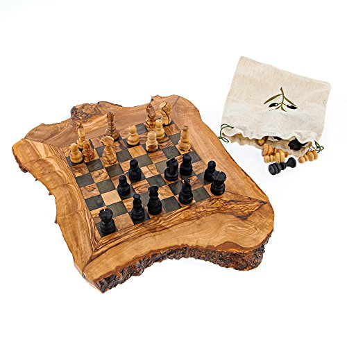 Schachspiel rustikalen Olivenholz, handgefertigt, klein 32x32cm Serveware-serving-sets