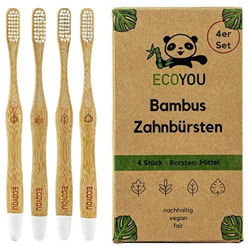 EcoYou Bambus Zahnbürsten 4er Set mittel - Nachhaltige Holzzahnbürste vegan
