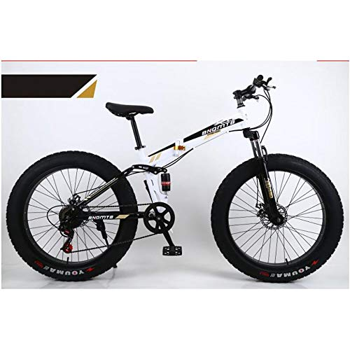 """51mI XDYrHL. SS500  - L&LQ 26"""" Alloy Folding Mountain Bike 27 Speed Dual Suspension 4.0Inch Fat Tire Bicycle Can Cycling On Snow,Mountains,Roads,Beaches,Etc"""