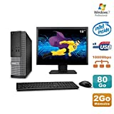 Lot PC Dell Optiplex 3020 SFF Intel G3220 3GHz 2Go 80Go DVD W7 + Ecran 19' (Reconditionné Certifié Grade A)