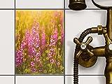 creatisto Fliesen-Folie Sticker Aufkleber Selbstklebend   Fliesenmuster Deko-Folie Badezimmer renovieren Küche Dekoration Küche   15x20 cm Design Motiv Flower Meadow - 1 Stück