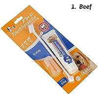 juxinuk 1pc Set de cepillo de dientes Three In One Pet para pasta de dientes (Carne)