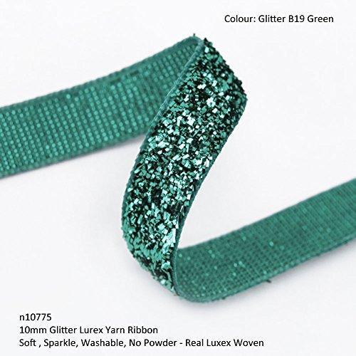 Neotrims Lurex-Garn gewebt Glitzerband, 10mm, glitzernd, 12Farben Weihnachtsband. Waschbar Zwei Farbtöne Metallic-Garn klassisch Glitzer-Effekt, weich & leicht schwammartig, aber sehr stark, stylisch, für Weihnachten & fürs Basteln. 12Sensationelle Farben zum Dekorieren von Schmuck, Textilien oder Schuhen oder Heimdeko, toll für Hochzeiten oder Kostüme., Band Polyester Velours Nylon, Glitter B19 Green, 5 m (Green Glitter Schuhe)