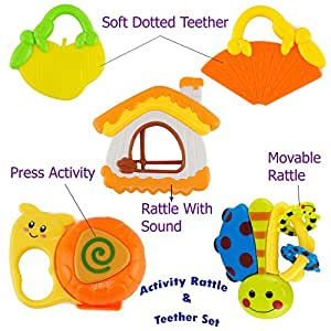Wish key Plastic Baby Rattle and Teether Toys for Infants Non Toxic with Mild Sound -Set of 5