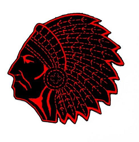 Indische Kostüm Zombie (Schwarz Rot indischen Tribal Chief Biker Rider Motorrad Patch Hand bestickt und Bügelbild Symbol Jacke T-Shirt patches aufnäher)