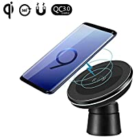 Spedal Tech F2 Fast Charger Magnetic Pad Car Mount on Dashboard and Air Vent Phone Holder Samsung Galaxy S9 Note 8 S8 Standard Wireless Charging Compatible iPhone X/8 Plus, Black preiswert