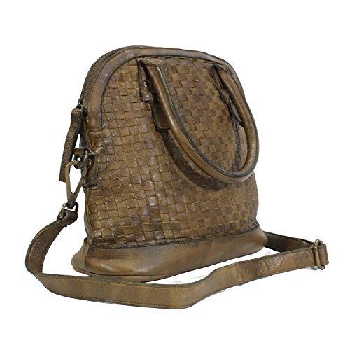 64510417ce3b9 ... Leder Damen Schultertasche - Handtasche im Used-Vintage-Flecht-Look  Damen Umhängetasche Oliv ...