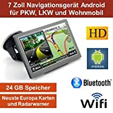 17,8cm 7 Zoll Android 4.4,PKW,GPS,Navigationsgerät,Navigation,WIFI,Wohnmobil, Neuste Europa Karten sowie Radarwarner,Tablet PC,Internet,Wohnmobil,LKW,Auto,24GB Speicher, HD Display,AV-IN,Bluetooth,Radarwarner