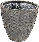 Rattan Blumentopf rund mit Einsatz 1 Stück - groß grau