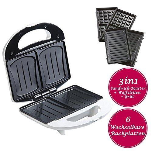 3in1 Sandwich-Toaster, Sandwichmaker mit Muschelplatten, inklusive Wechselplatten für belgische Waffeln + Grillplatten