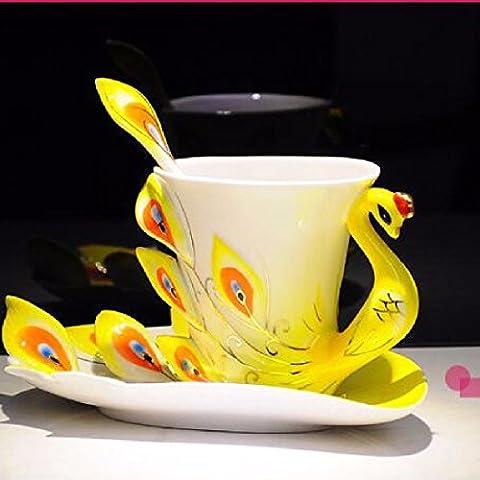 ZHGI Peacock le coppe di vetro a casa quotidiana di caffè tazza mug creative regali (Vetro Peacock)