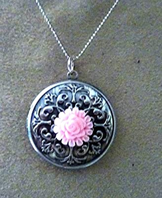 pendentif medaillon, cassolette, porte photo, fleur noir