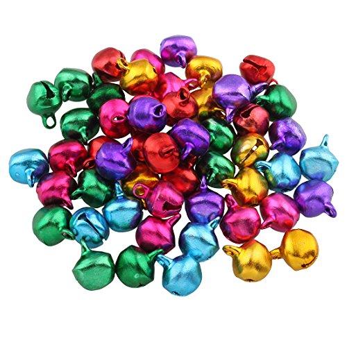 Perlin - 1000 Glöckchen Glocken Schellen 6mm mit Öse Rund Mix Farbe Bunter Basteln Metallglöckchen, Mini Anhänger M31 x2