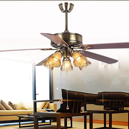 Antike Kronleuchter Kronleuchter Europäischer Ventilator Restaurant Deckenventilator Beleuchtung Ventilator Kronleuchter Schlafzimmer Wohnzimmer mit Holzmöbelblättern 152,4 cm Ventilator Lichter -