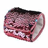 Dorical Meerjungfrau Armbänder, 2-farbig Reversible Charme Pailletten Slap Spielzeug Armband für Party, Dekor, Kindergeburtstag, Spielzeug,mit Super-Soft Velvet Futter (1 Stück)