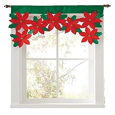 Gluckliy Red Christmas Valance Home Fenster Vorhang Weihnachten Blumen Dekor