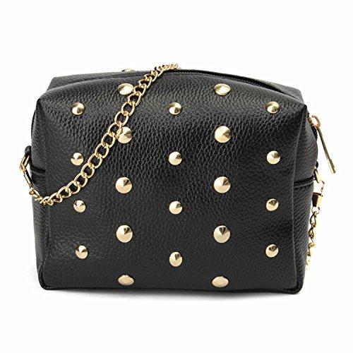 Abendtasche mit goldenen Nieten glänzend Mode elegante Clutch Abendgarderobe Damen Handtasche mit Schlüsselfach hochwertige Date Ausgehen Accesoire Schwarz