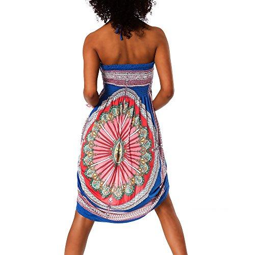 H112 Damen Sommer Aztec Bandeau Bunt Tuch Kleid Tuchkleid Strandkleid Neckholder F-026 Blau