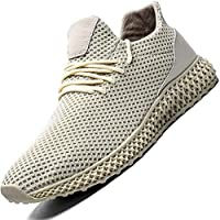 Zeoku Men's Running Shoes Non Slip Fashion Breathable Sneakers Mesh Soft Sole Casual Athletic Lightweight Walking Shoes(8.5,Beige)