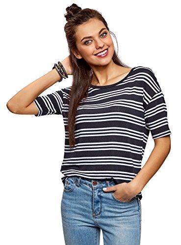 oodji Collection Donna T-Shirt Larga con Scollo Rotondo Blu (7910S)