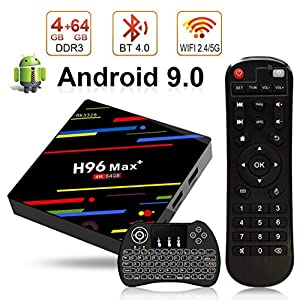 Android-90-TV-Box-H96-Max-4K-Smart-TV-Box-4-Go-RAM-64-Go-ROM-Botier-TV-Bluetooth-40-3D-RK3328-Quad-Core-64bit-CPU-24G-5GHz-WiFi-LAN100M-H265-avec-Clavier-sans-Fil-rtroclair