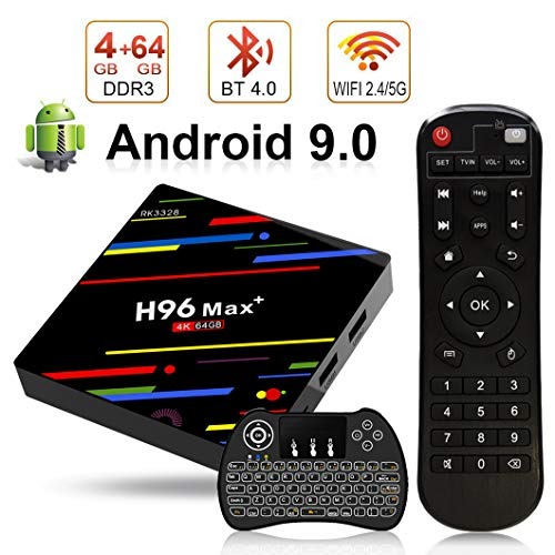H96 Max+ TV Box Android 9.0 [4GB RAM+64GB ROM] 4K Ultra HD Boîtier TV RK3328 Cortex-A53 64 Bits Quad-Core Bluetooth 4.0 Dual Band WiFi 2.4G/5GHz LAN100M USB 3.0 with Wireless Mini Backlit Keyboard