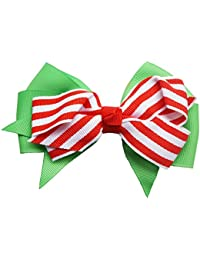 Santa Baby Hair Bow (Striped)