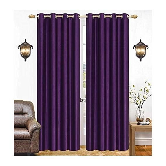 Galaxy Home Decor Plain Curtains for Door 7 Feet Set of 2, Purple (2, Door 7 Feet)