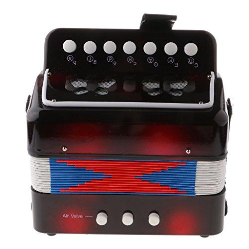 Generic 7 Tasten Kinder Knopfakkordeon Musikinstrument Pädagogisches Spielzeug - Schwarz