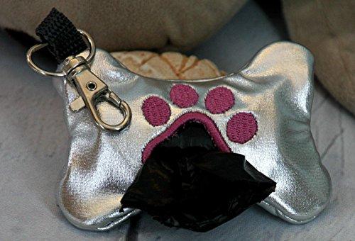 Hundekotbeutel Tasche Glitzer silber, Tasche für Hunde Tüten inklusive Tüten (Folie Elasthan)