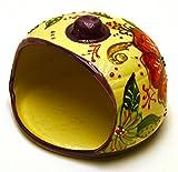 Art Escudellers PORTA SPUGNA in ceramica fatto e dipinto a mano con decorazione flor 15 cm x 15 cm x 11 cm (LILA)