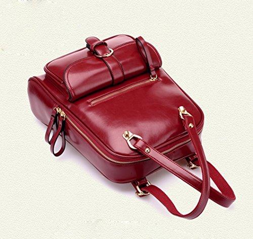 INAEONG Donne Casuale Elegante Solido Colore Preppy Stile Zaini Vino Rosso