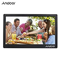 ‏‪Andoer 17inch Digital Photo Frame Full View IPS Screen 1920 * 1080 HD Advertising Machine Support Random Play with Remote Control Christmas Birthday Gift‬‏