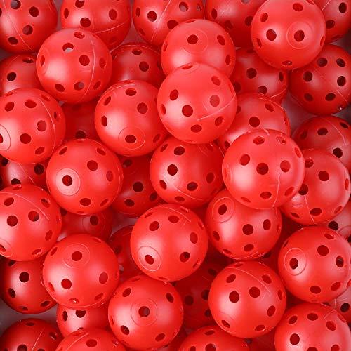 Tebery 50 Stück Air Flow Golf Trainingsbälle, Golfbälle aus Kunststof - Rot -