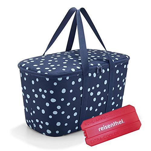 reisenthel coolerbag mit Kühlakku - isolierte Kühltasche, faltbar, robust, mit Reißverschluss - 44,5 x 24,5 x 25 cm, Volumen: 20l - Exklusives Set, Spots Navy (4044)